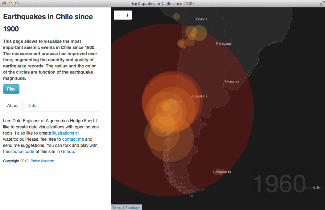 Screenshot - Earthquakes in Chile since 1900.